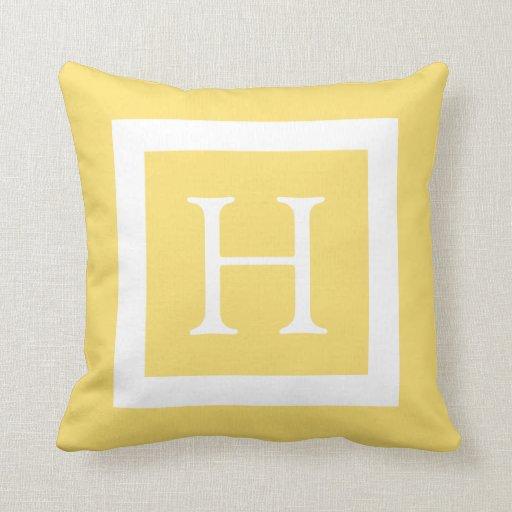 Custom Down Throw Pillows : Yellow White Custom Monogram Throw Pillow Zazzle