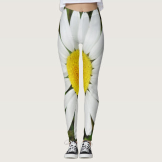 Yellow White Daisy Flower Floral Photography Leggings