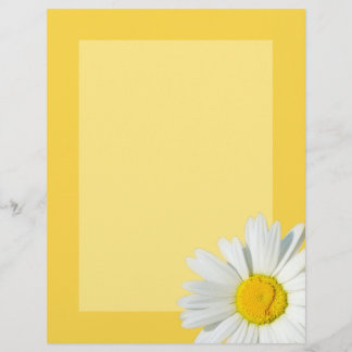 Yellow & White Daisy Personalized Stationary Paper