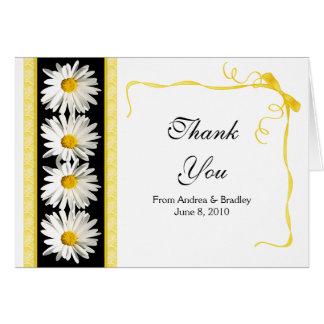 Yellow White Daisy Ribbon Wedding Thank You Card