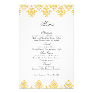 Yellow White Damask Arabesque Wedding Menu Card