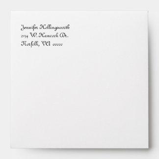 Yellow & White Damask Bridal Shower Envelope