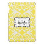 Yellow & White Damask monogram iPad mini case