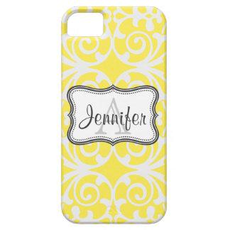 Yellow & White Damask Monogram iPhone 5 iPhone 5 Cases
