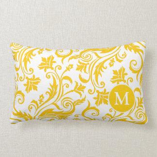 Yellow White Damask Monogram Lumbar Pillow