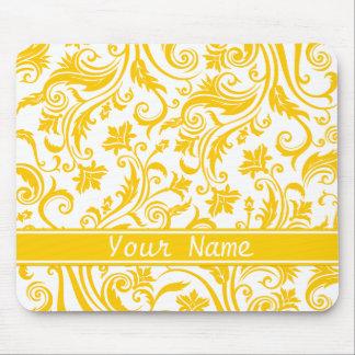 Yellow White Damask Monogram Mouse Pad