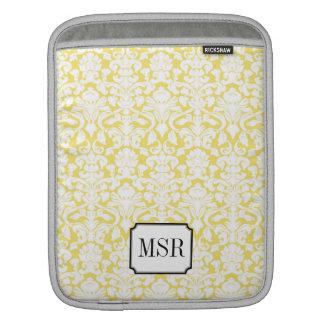 Yellow white damask pattern 3 letter monogram iPad sleeve