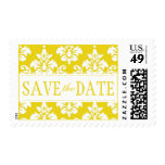 Yellow White Damask Save the Date Postage Stamps