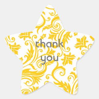 Yellow White Damask Star Sticker