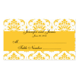 Yellow White Damask Wedding Place Card Double-Sided Standard Business Cards (Pack Of 100)