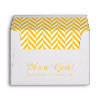 Yellow White Due Date Baby Shower Envelopes