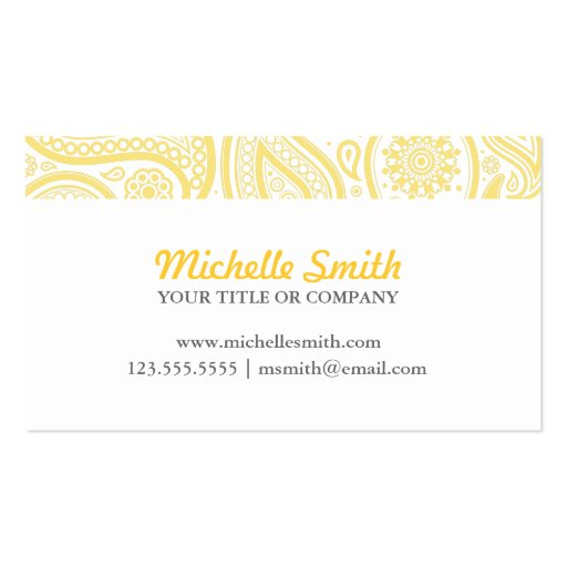 Yellow White Elegant Paisley Business Card Templates