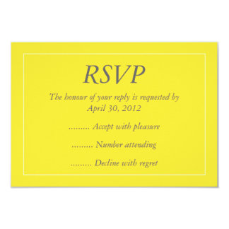 """Yellow & White Event Reply, RSVP or Response Cards 3.5"""" X 5"""" Invitation Card"""