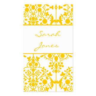 Yellow White Floral Damask Business Card