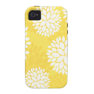 Yellow White Floral Monogram Case-Mate iPhone 4 Covers