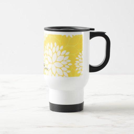 Yellow White Floral Monogram Pattern 15 Oz Stainless Steel Travel Mug