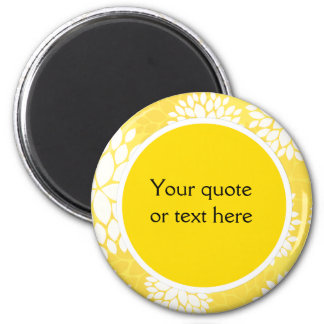 Yellow White Floral Monogram Pattern 2 Inch Round Magnet