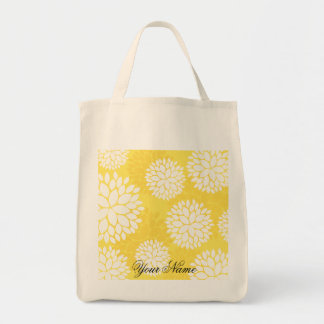 Yellow White Floral Monogram Pattern Canvas Bags