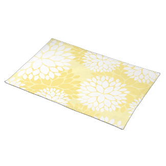 Yellow White Floral Monogram Pattern Cloth Placemat