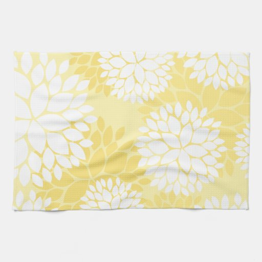 Yellow White Floral Monogram Pattern Hand Towels