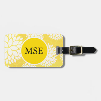 Yellow White Floral Monogram Pattern Tag For Bags