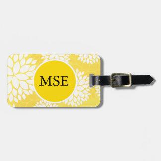 Yellow White Floral Monogram Pattern Luggage Tag