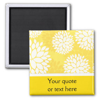 Yellow White Floral Monogram Pattern Magnet