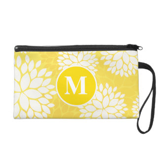 Yellow White Floral Monogram Pattern Wristlet Purse
