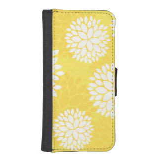 Yellow White Floral Pattern Phone Wallets