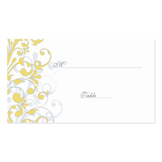 Yellow, White Floral Wedding Place Cards Double-Sided Standard Business Cards (Pack Of 100)