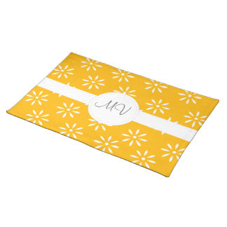 Yellow & White Flowers Customize Kitchen Gifts Cloth Placemat