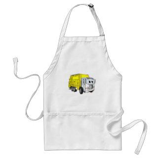 Yellow White Garbage Truck Cartoon Adult Apron