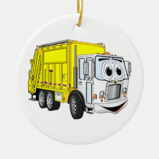 Yellow White Garbage Truck Cartoon Double-Sided Ceramic Round Christmas Ornament