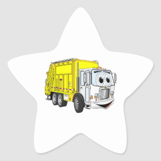 Yellow White Garbage Truck Cartoon Star Sticker