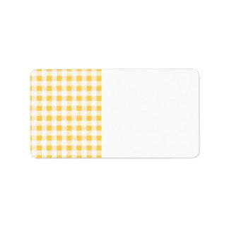 Yellow White Gingham Pattern Label