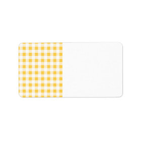 Yellow White Gingham Pattern Labels