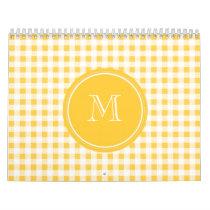 Yellow White Gingham Pattern, Your Monogram Calendar