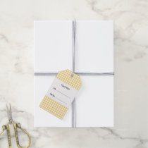 Yellow White Gingham Pattern, Your Monogram Gift Tags