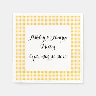 Yellow White Gingham Pattern, Your Monogram Napkin