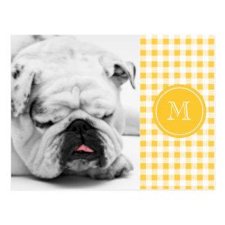 Yellow White Gingham Pattern, Your Monogram Postcard