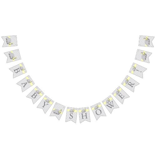 Yellow White Gray Elephant Baby Shower Bunting Flags