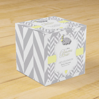 Yellow, White Gray Elephant Baby Shower Favor Box