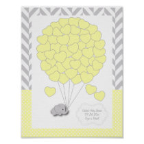 Yellow, White Gray Elephant Baby Shower - Guest Poster