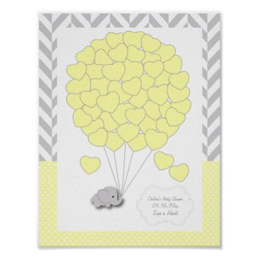 Toddler & Baby themed Yellow, White Gray Elephant Baby Shower - Guest Poster