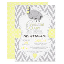Yellow, White Gray Elephant Baby Shower Invitation