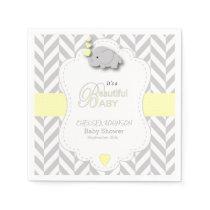 Yellow, White Gray Elephant Baby Shower Napkin