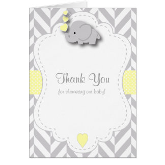 Yellow, White Gray Elephant Baby Shower Thank You