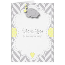 Yellow, White Gray Elephant Baby Shower Thank You Card