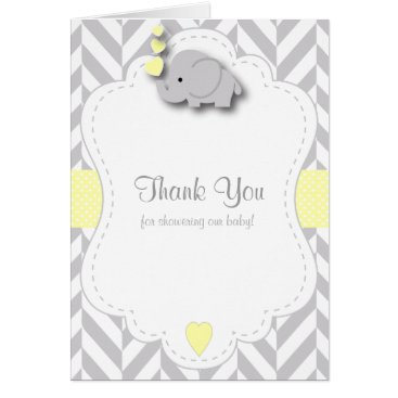Toddler & Baby themed Yellow, White Gray Elephant Baby Shower Thank You Card