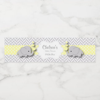 Yellow, White Gray Elephant Baby Shower Water Bottle Label